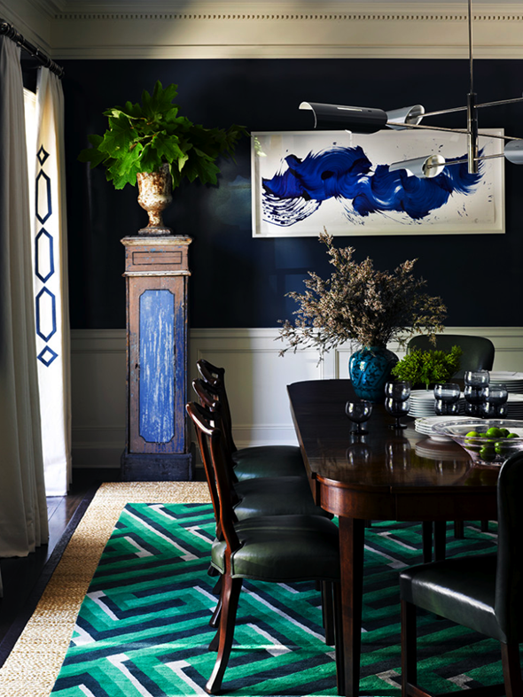 get the look: jeffrey alan marks blue & green dining room | the