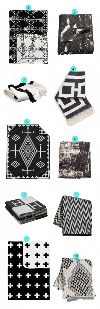 Tuesday Ten: Black and White Throw Blankets