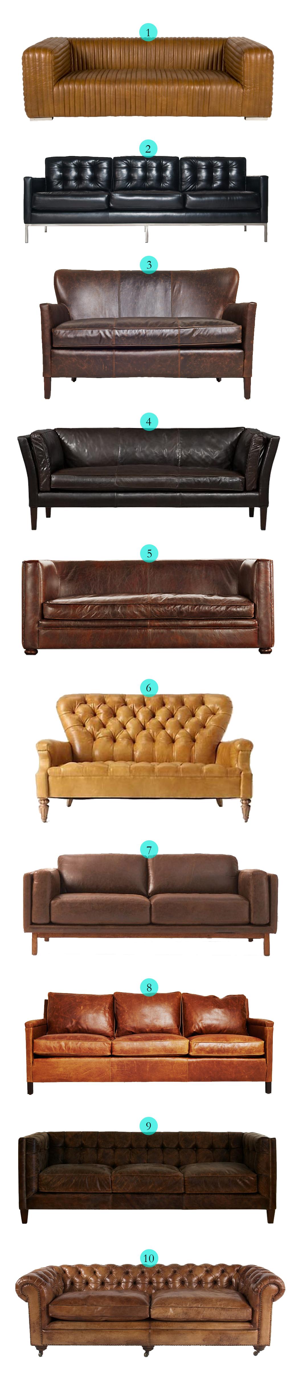 Tuesday Ten: Leather Sofas via Havenly