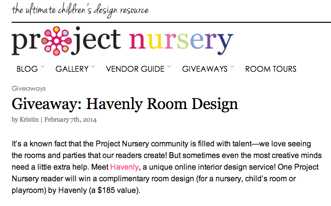 Project Nursery Giveaway with Havenly
