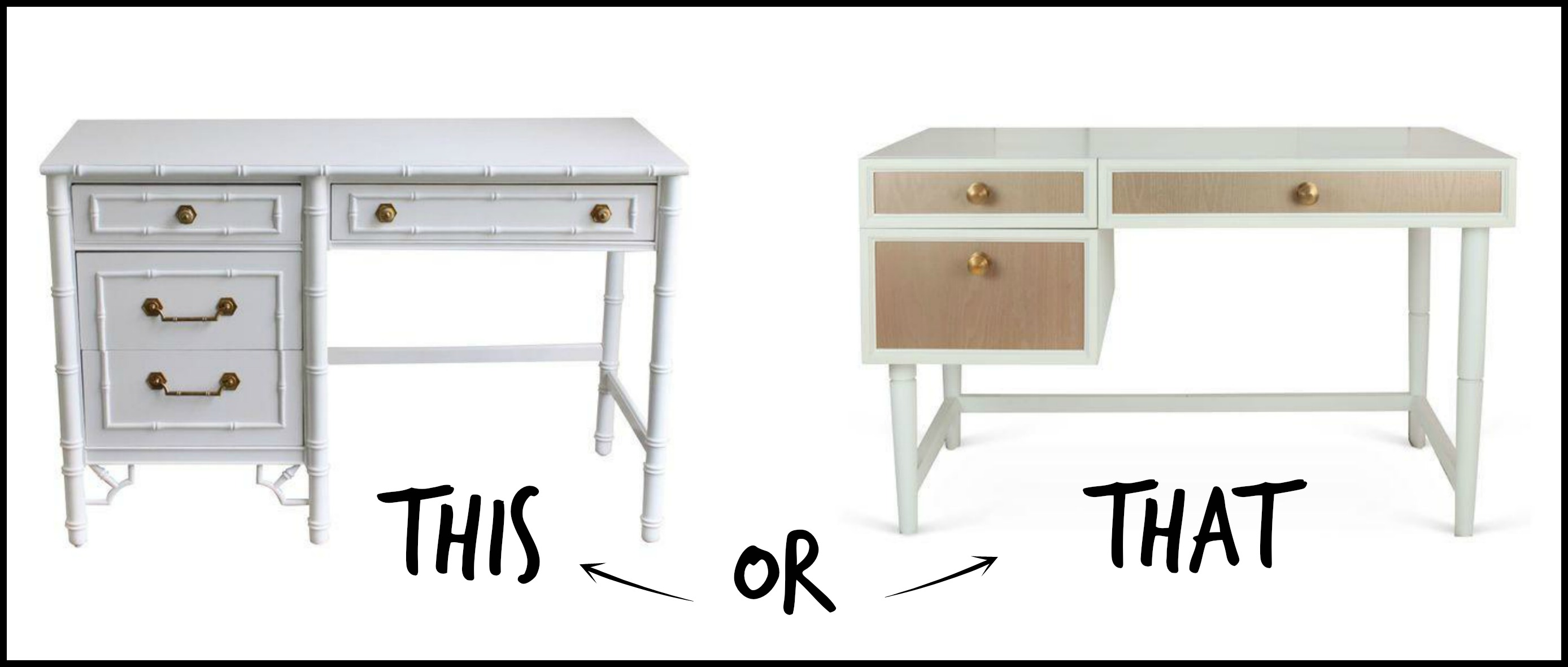 This or That - Chairish White Writing Desk ||  Havenly