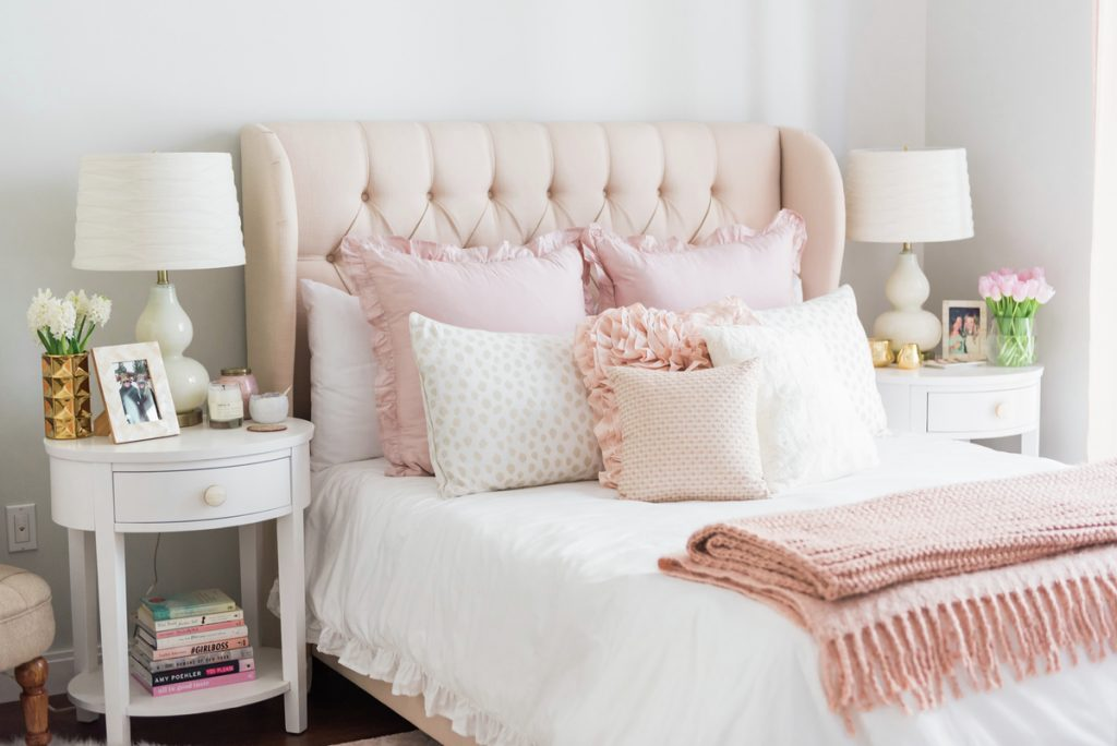 Favorite pink room design, pink bedroom with soft ruffles and girly glam accents