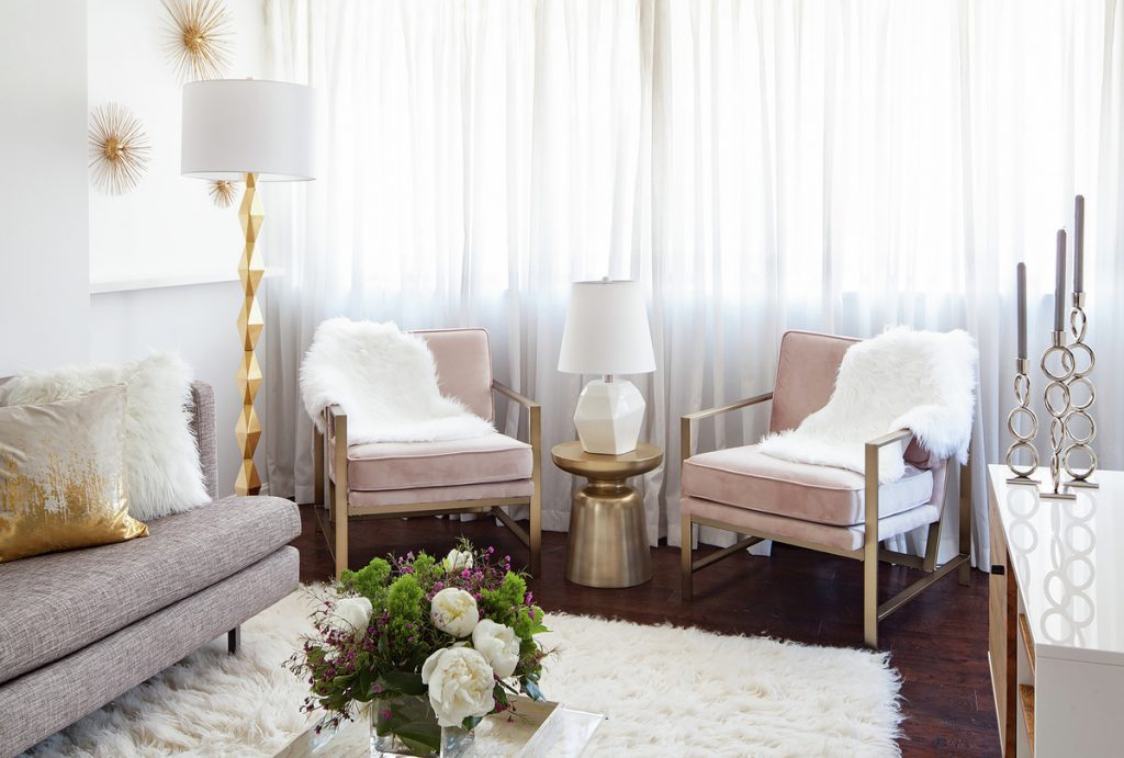 Favorite pink room design, condo in D.C., faux fur living room