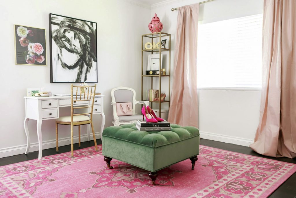 Favorite pink room design, hot pink with feminine glam vanity