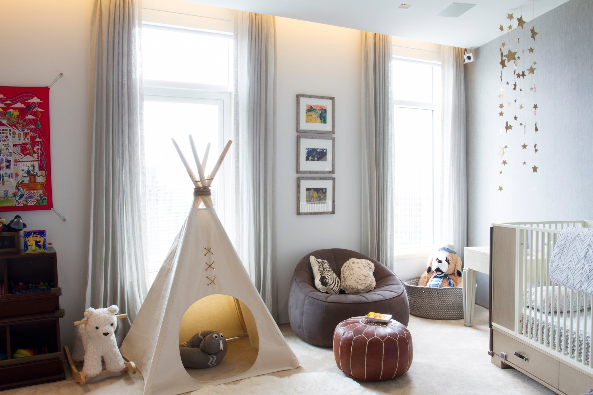 A Playful Baby Boy Nursery Complete With Teepee, Stuffed Animals U0026 Creative  Shelving. Designed