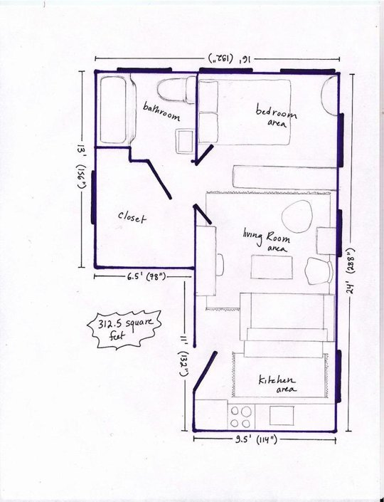 Studio apartment layout magic havenly for Efficiency apartment floor plans
