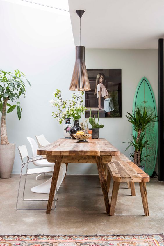 A light and airy dining room can rival any high-powered air conditioning.