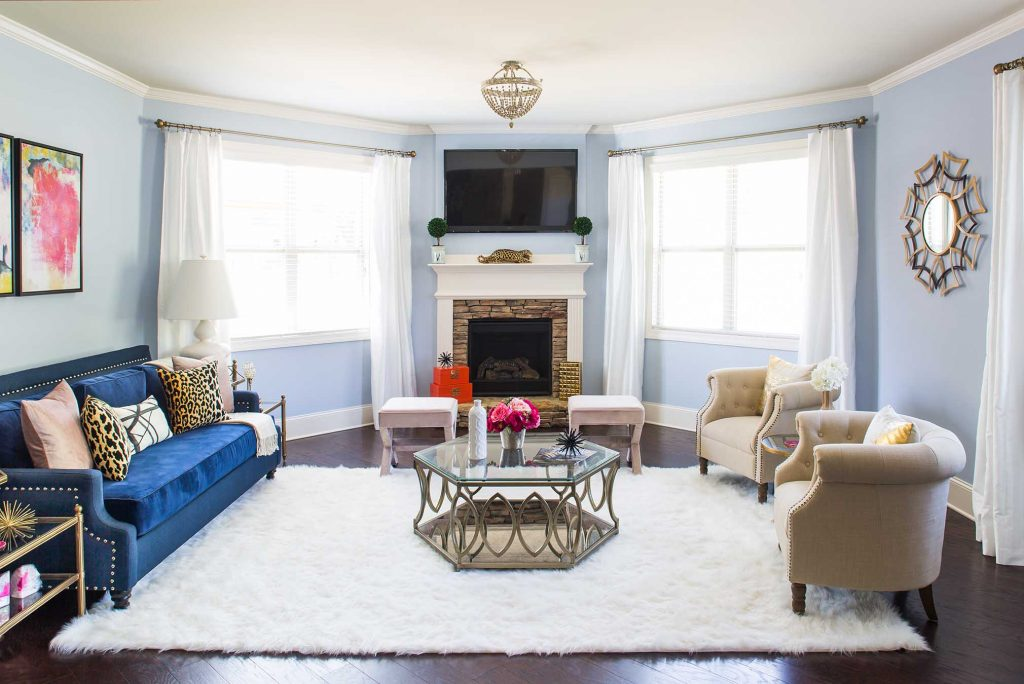 terrific tiffany blue living room ideas | Design Story: Tiffany's Bright, Bold & Blue Living Room ...