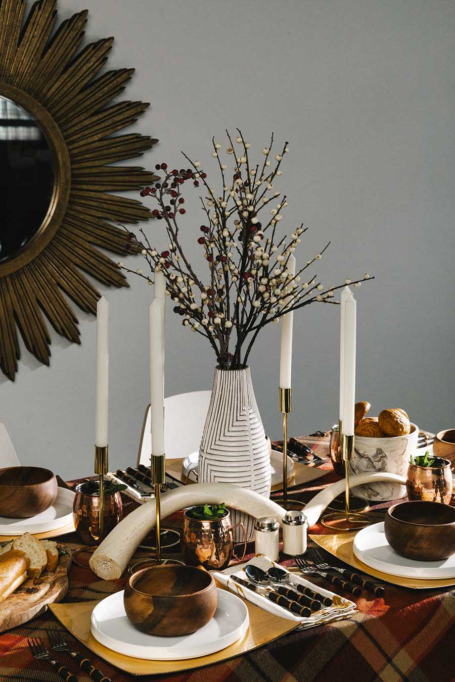 Fall Tablescape Tip: Remember to vary the height of your tablescape
