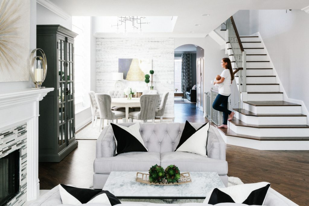 Grey and white home sitting area