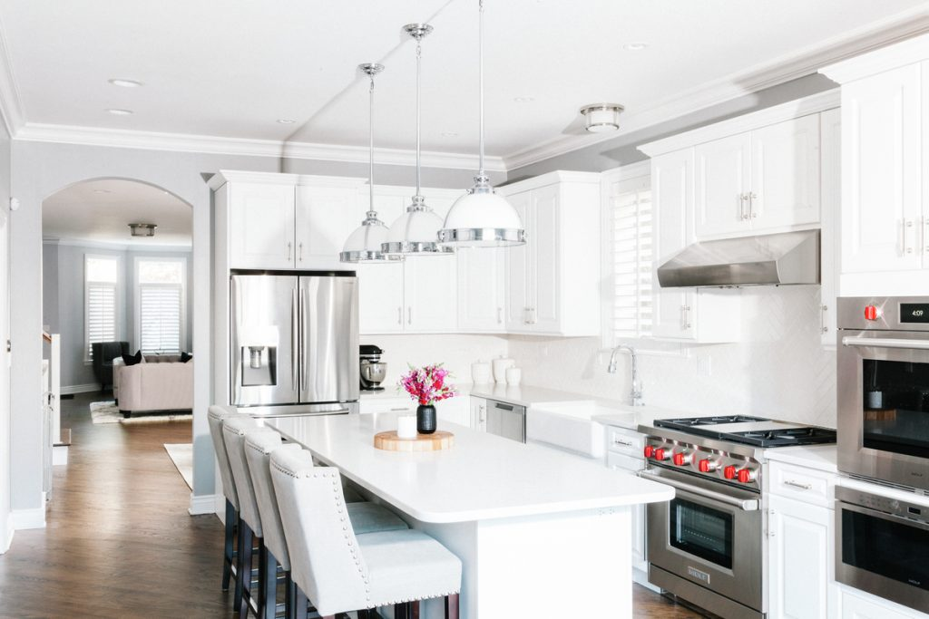 Grey and white home kitchen