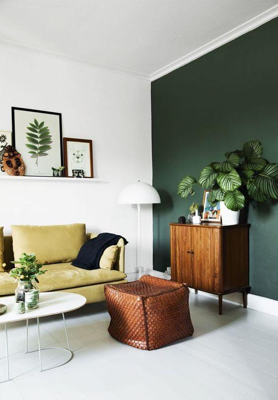 Dark Green Accent Wall