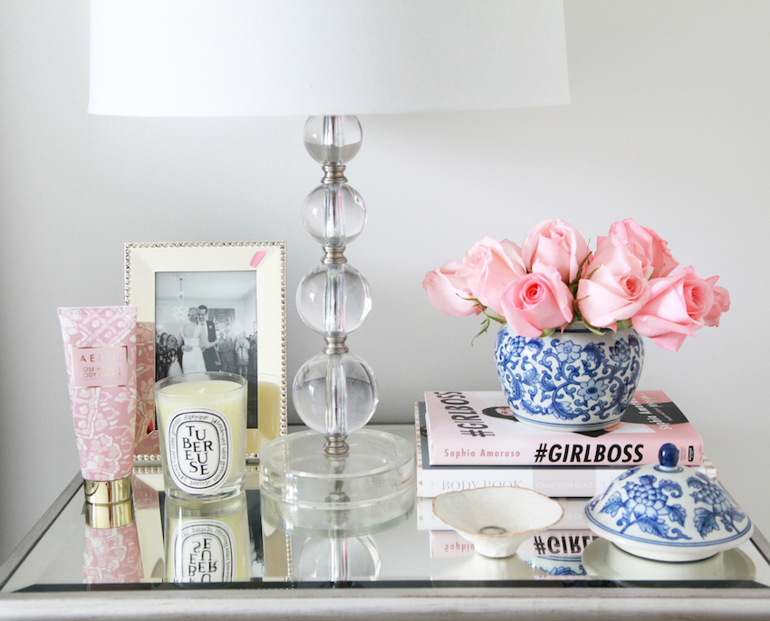 best smelling flowers for your space -- nightstand with roses