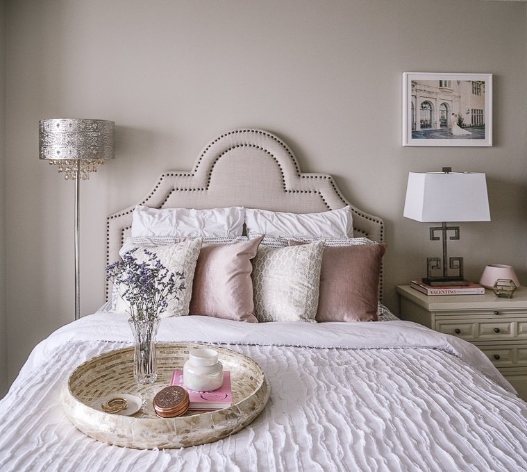 Design Story: A Blush Pink Bedroom for a Blogger's Workspace