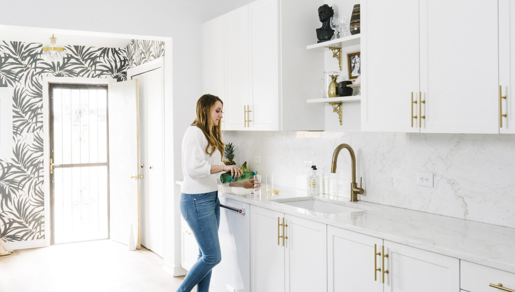 The Black & White Abode Part 6: The Kitchen   Havenly's Blog! on wasted space above kitchen cabinets, interior decorating above kitchen cabinets, decorating tips above kitchen cabinets,