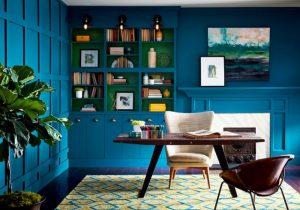 Bold blue walls make a big statement.