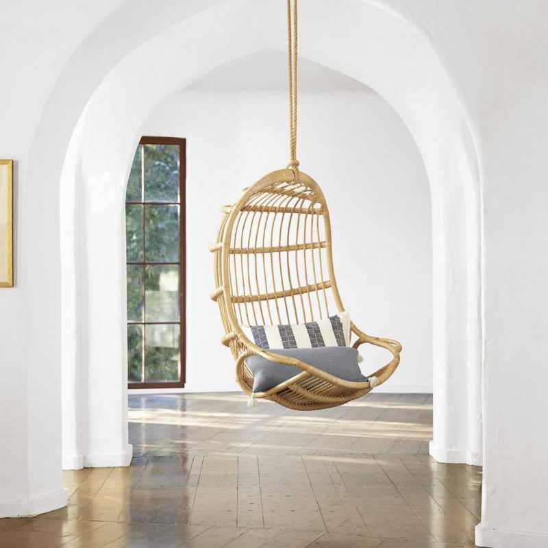 Hanging Rattan Chair in Natural from Serena and Lily