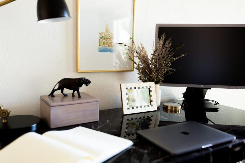 Home office desk arrangement
