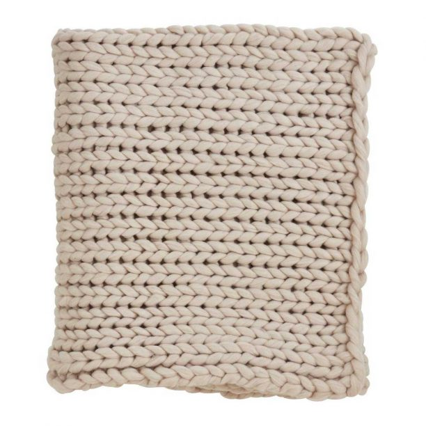 Chunky Knit Throw Blanket in Tan from Target