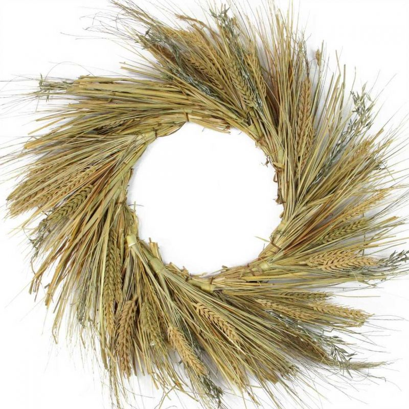 """22"""" Autumn Harvest Wheat Grass and Grapevine Thanksgiving Fall Wreath from Home Depot"""