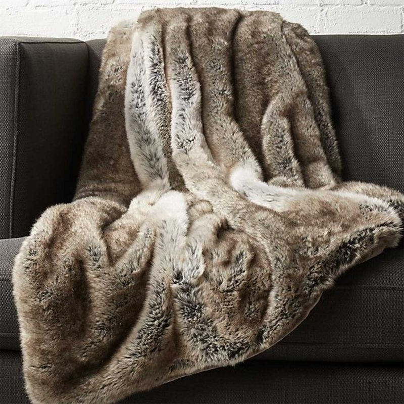 Light Grey Faux Fur Throw from CB2