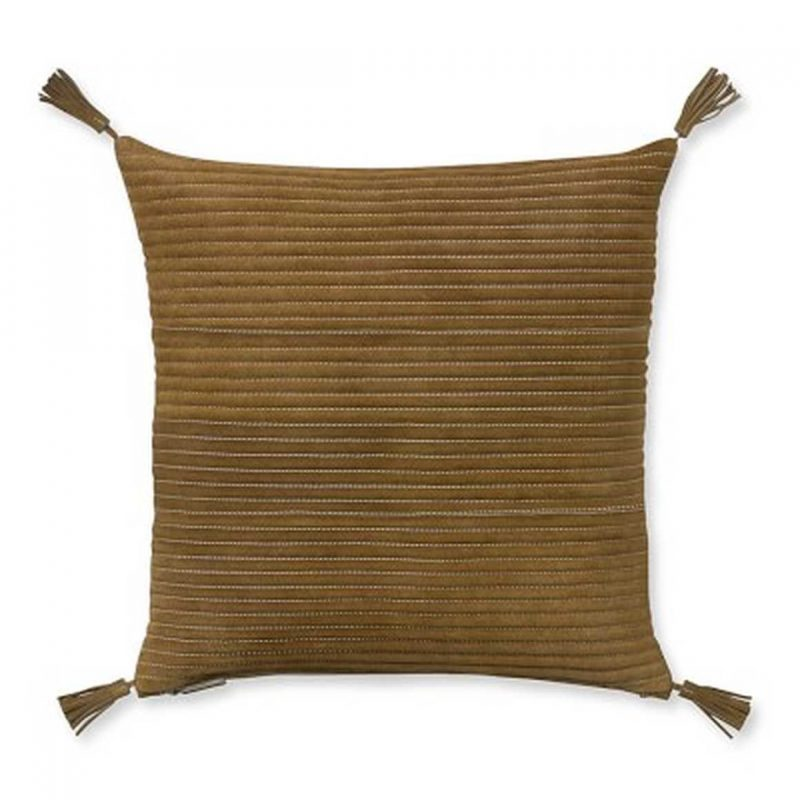 Suede Quilted Pillow Cover with Tassels in Suede