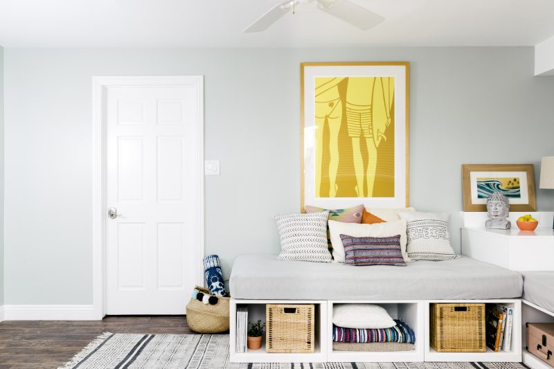 Well-designed multipurpose room with ample storage.