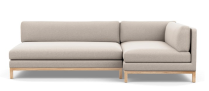 Jasper Right Sectional with Beige Linen Fabric and Natural Oak Legs
