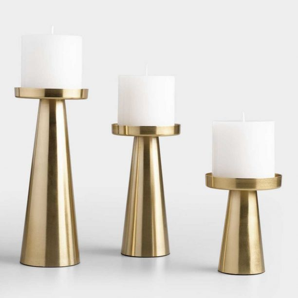 Brushed Gold Metal Contemporary Pillar Candleholder, Large from World Market