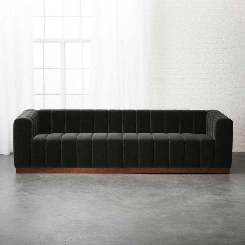Forte Channeled Charcoal Velvet Sofa from CB2, $1,899