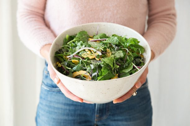 Baby Kale, Roasted Delicata Squash & Red Onion Salad