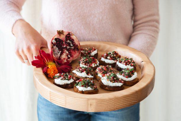 Pomegranate-Herb Relish & Ricotta Crostini