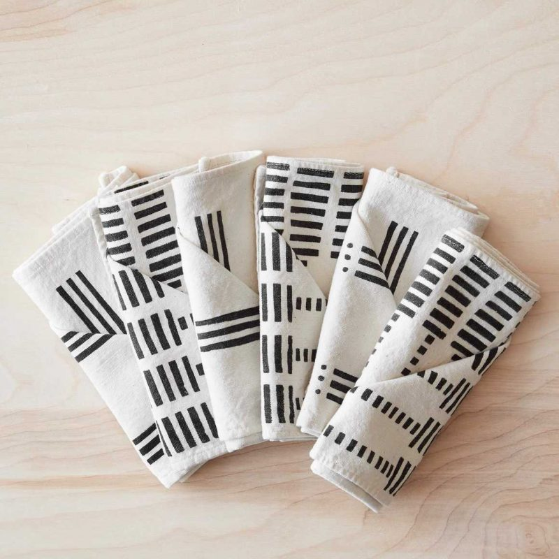 Echelle Mud Cloth Napkins - Set of 6 By The Citizenry