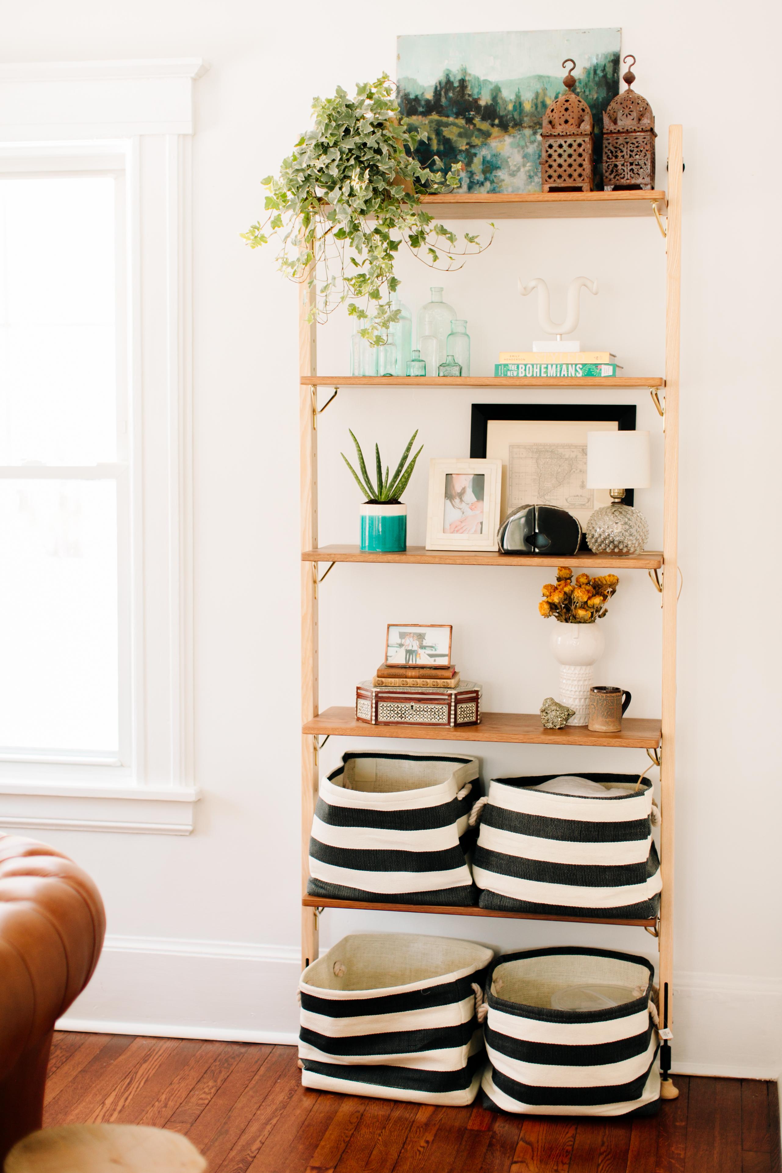 Basket storage in homeschooling area.