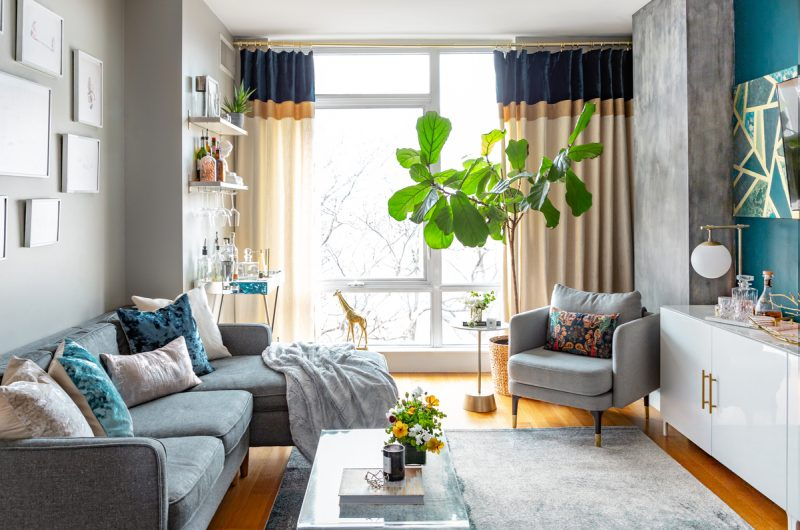 Living room with teal accent wall