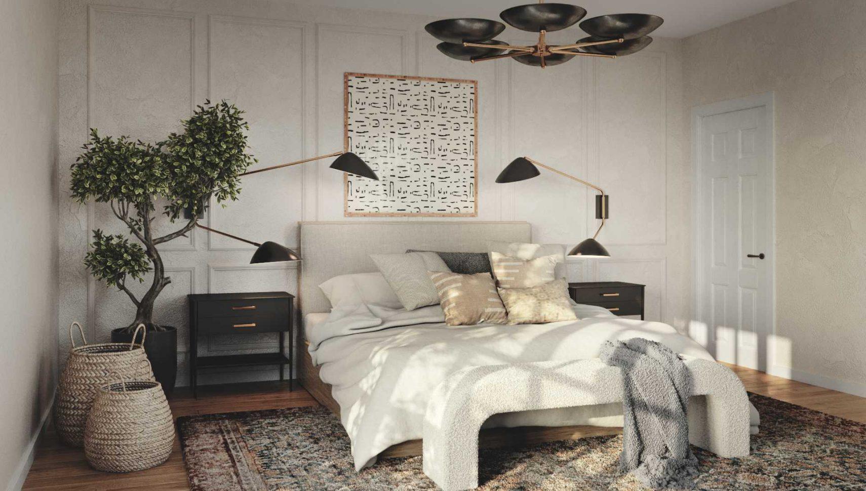 scandi mid mod bedroom