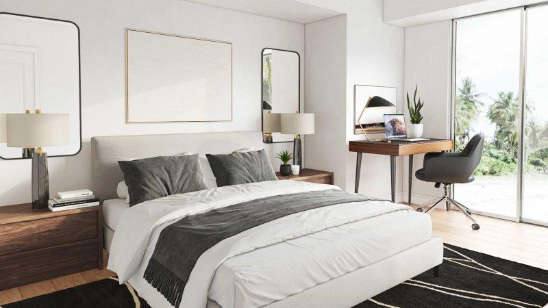 clean mid century bedroom