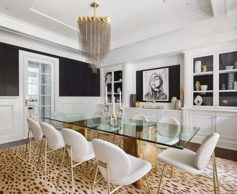 black and white glam dining room