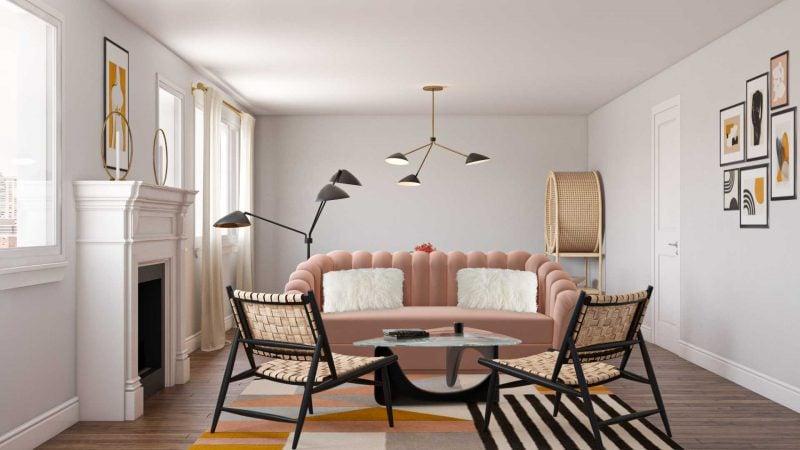 Blush Curved Sofa
