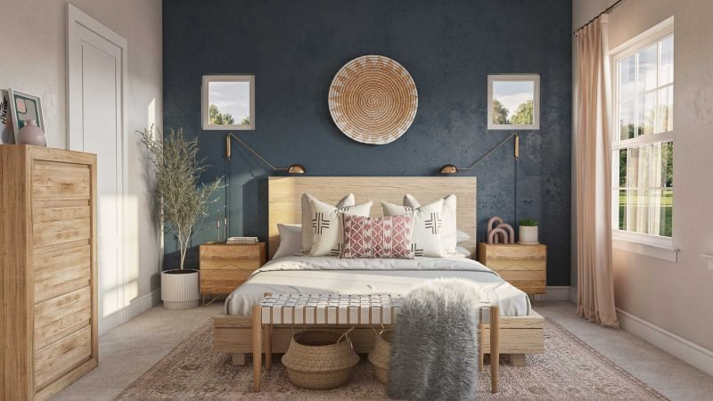 navy bedroom accent wall