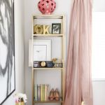 LA style blogger's dream office makeover - gold bookcase styling