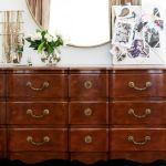 Mara's dream office makeover - antique vanity and round gold mirror