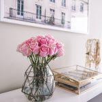 blush pink bedroom -- pink roses and jewelry boxes