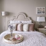 blush pink bedroom design -- guest bedroom and velvet pillows