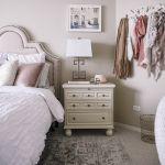 blush pink bedroom design -- storage and wedding photos