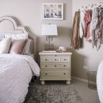 blush pink bedroom design -- storage and wedding photos