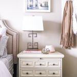 blush pink bedroom design -- nightstand