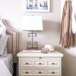blush pink bedroom design -- nightstand