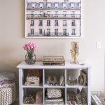 blush pink bedroom design -- storage and framed art print