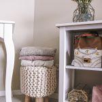 blush pink bedroom design -- product storage
